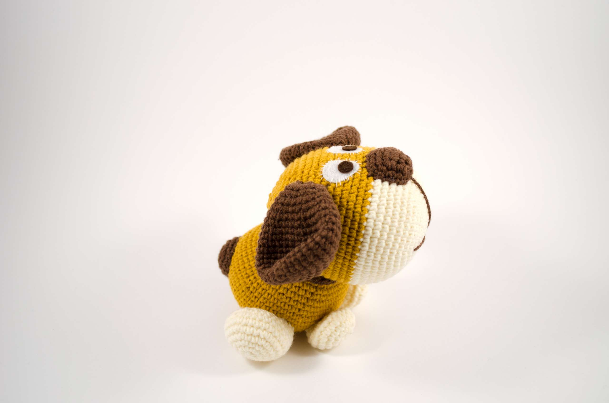 crochet puppy side view