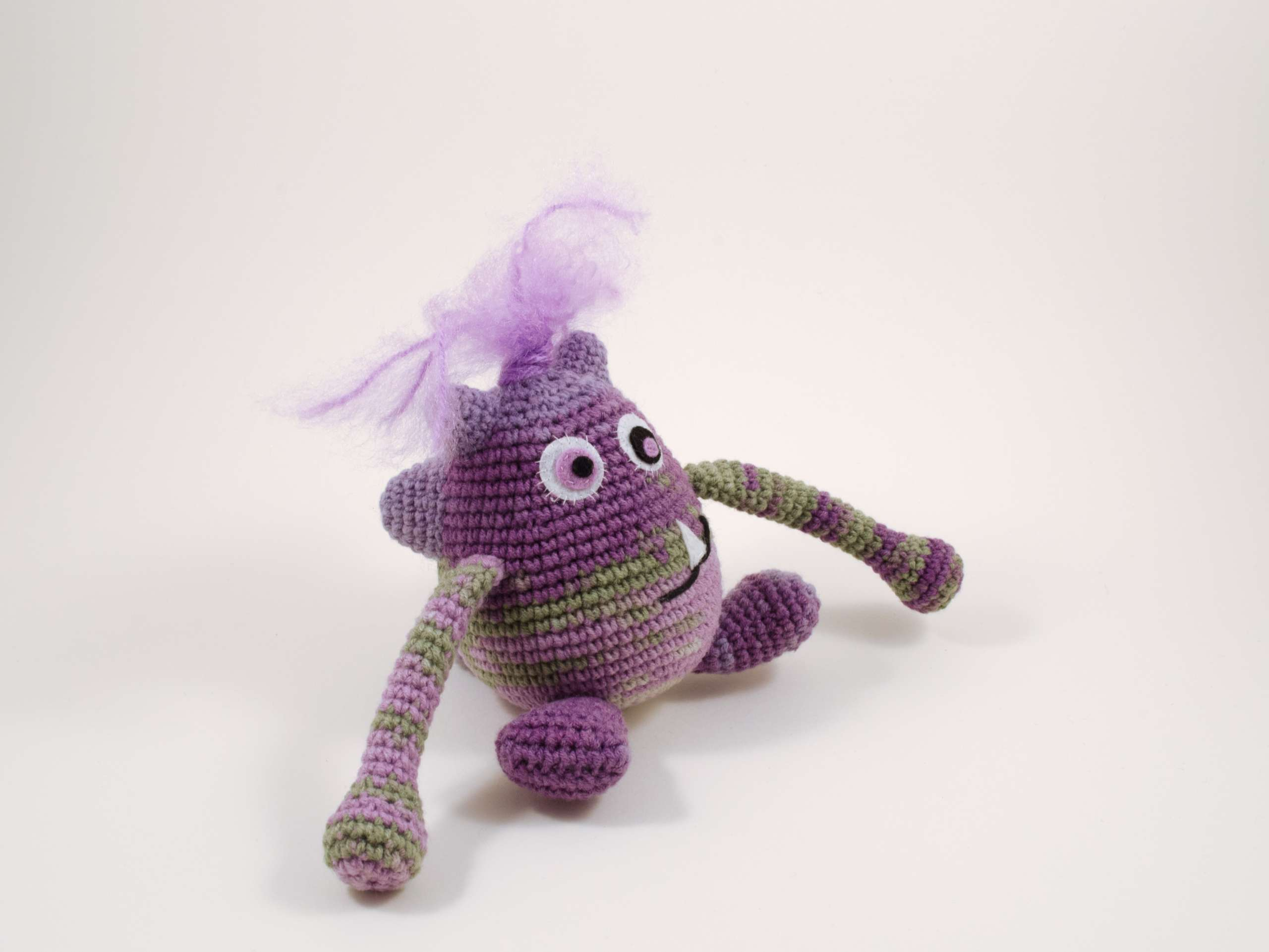 crochet purple monster side view