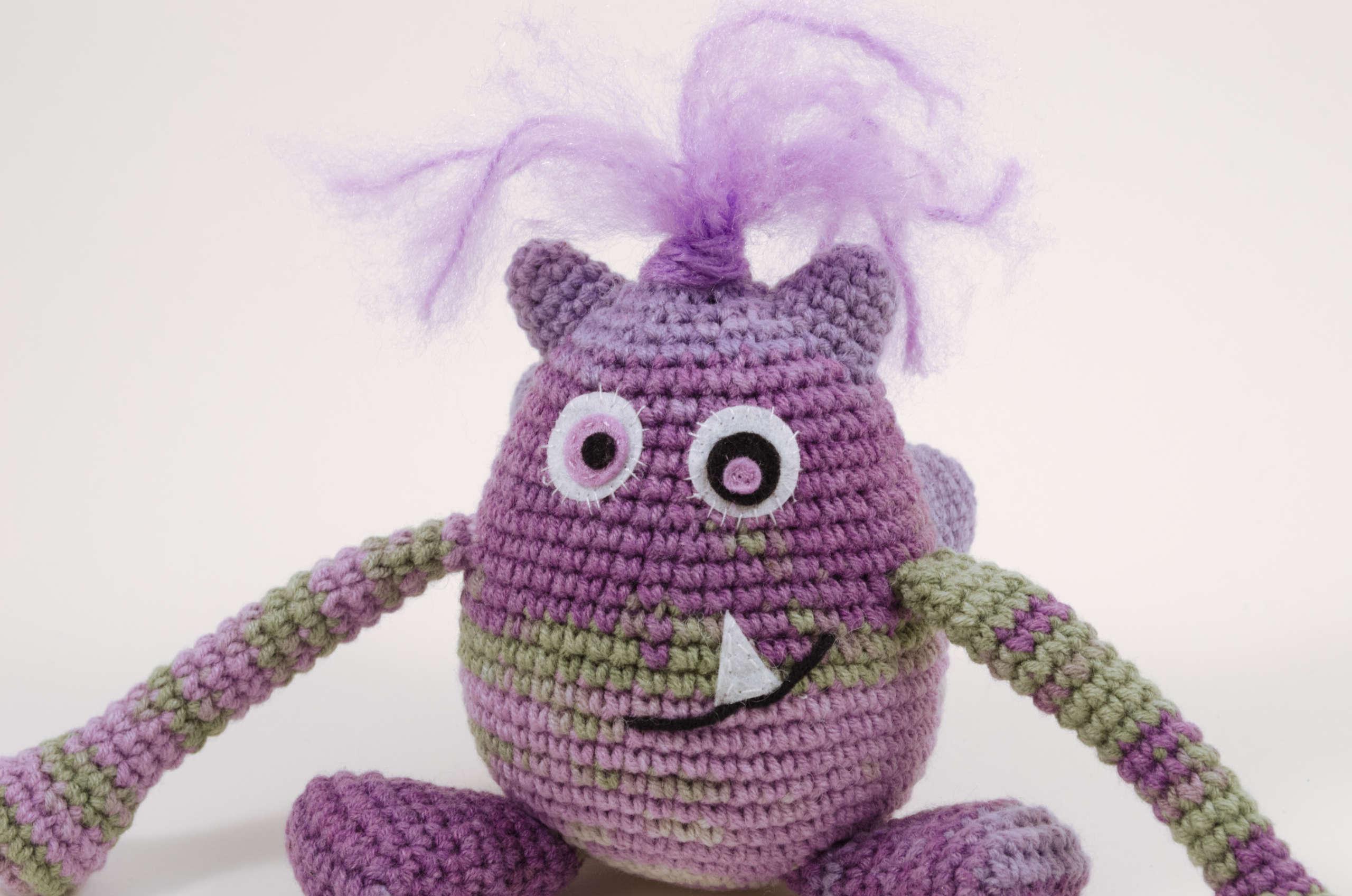 crochet purple monster close up view