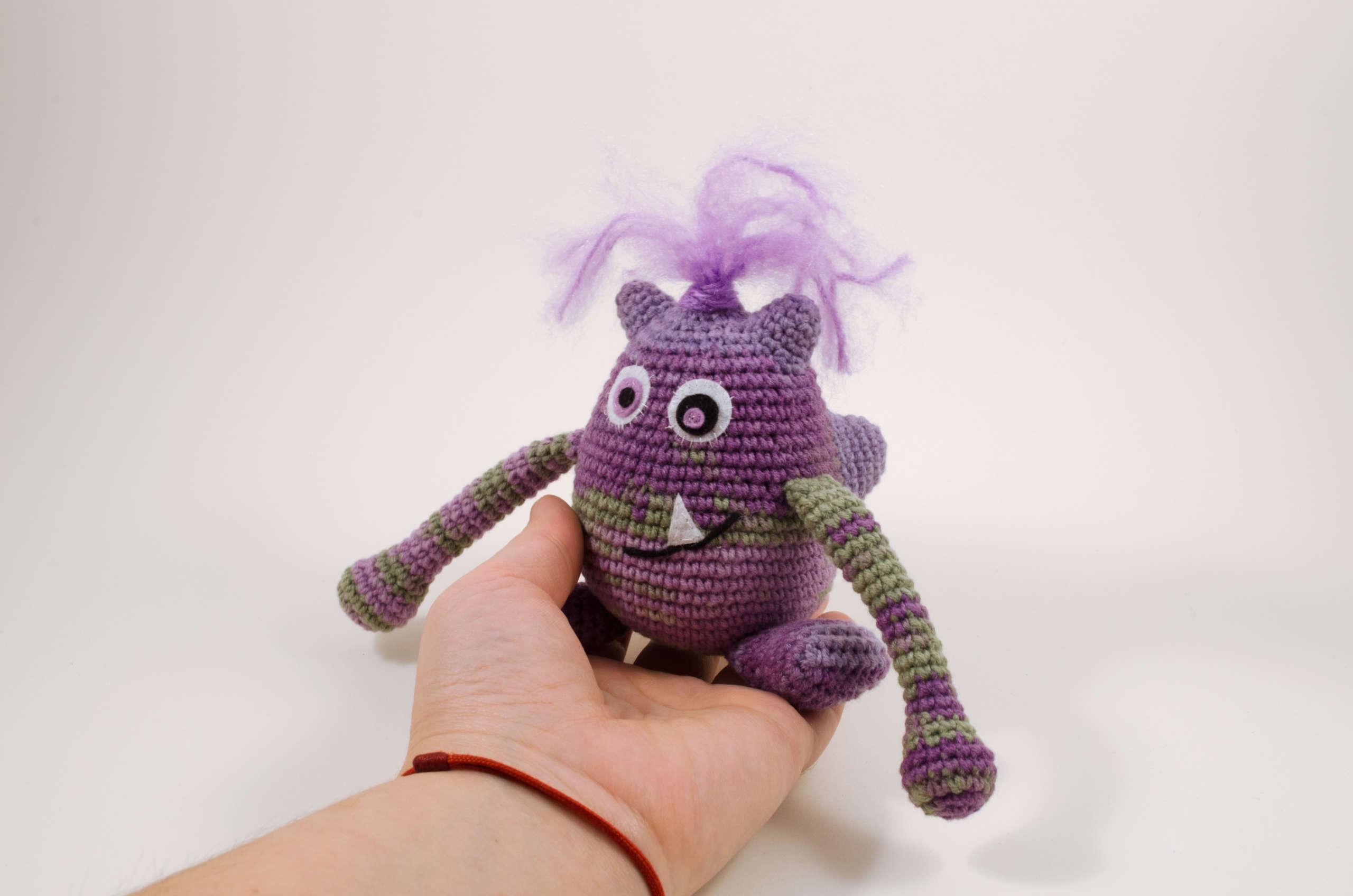 crochet purple monster front view
