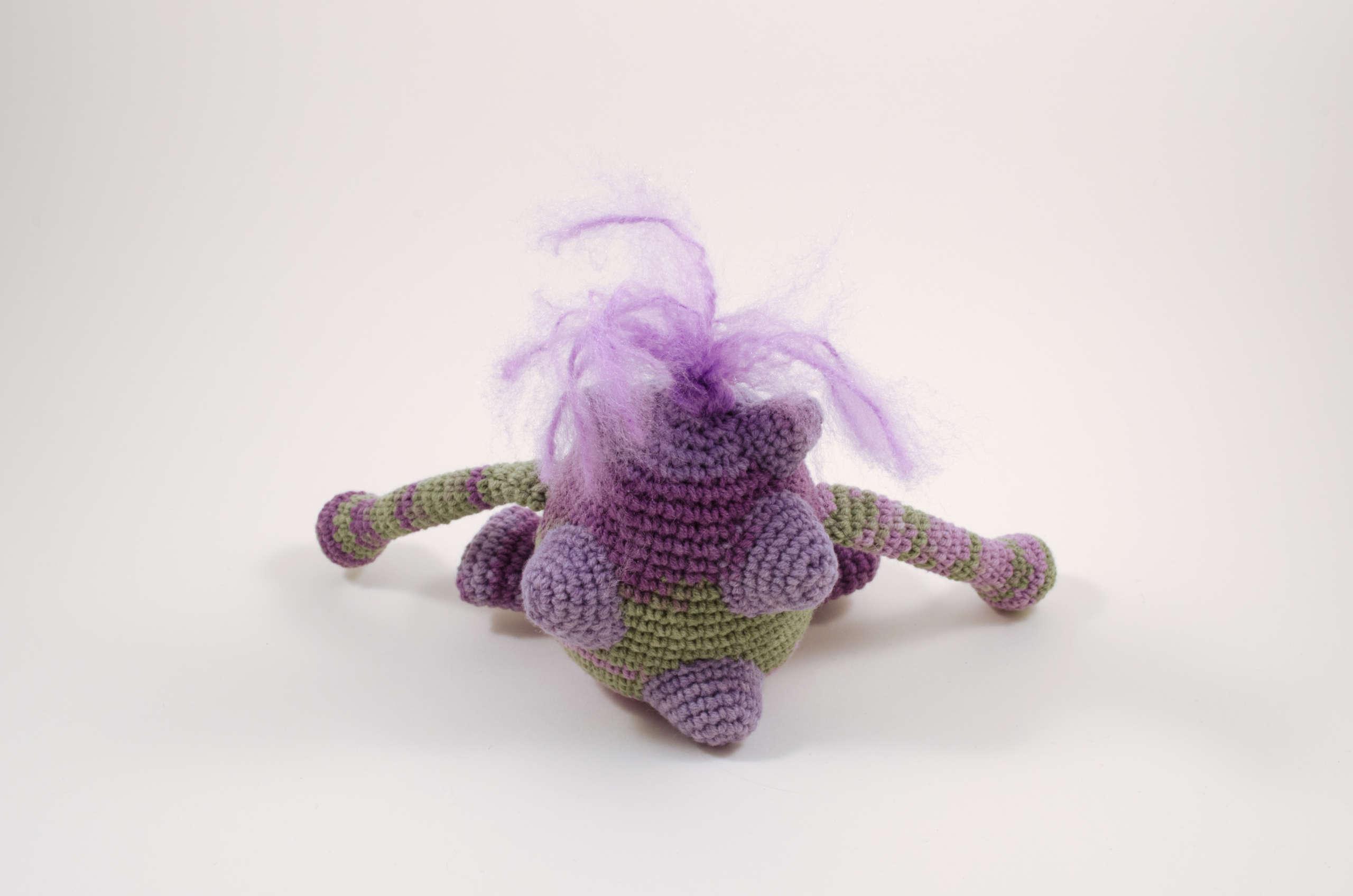 crochet purple monster back view