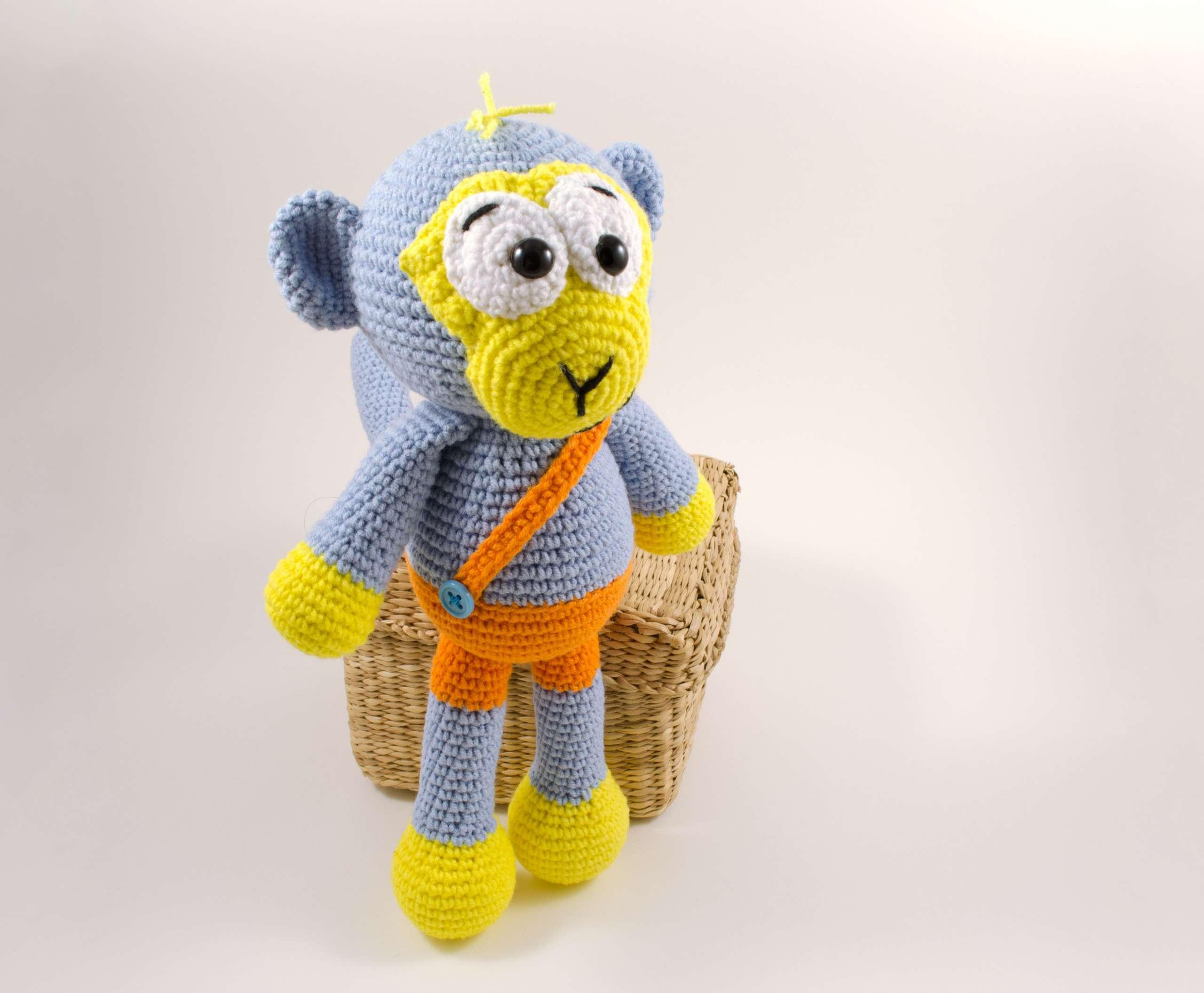 crochet blue monkey side view