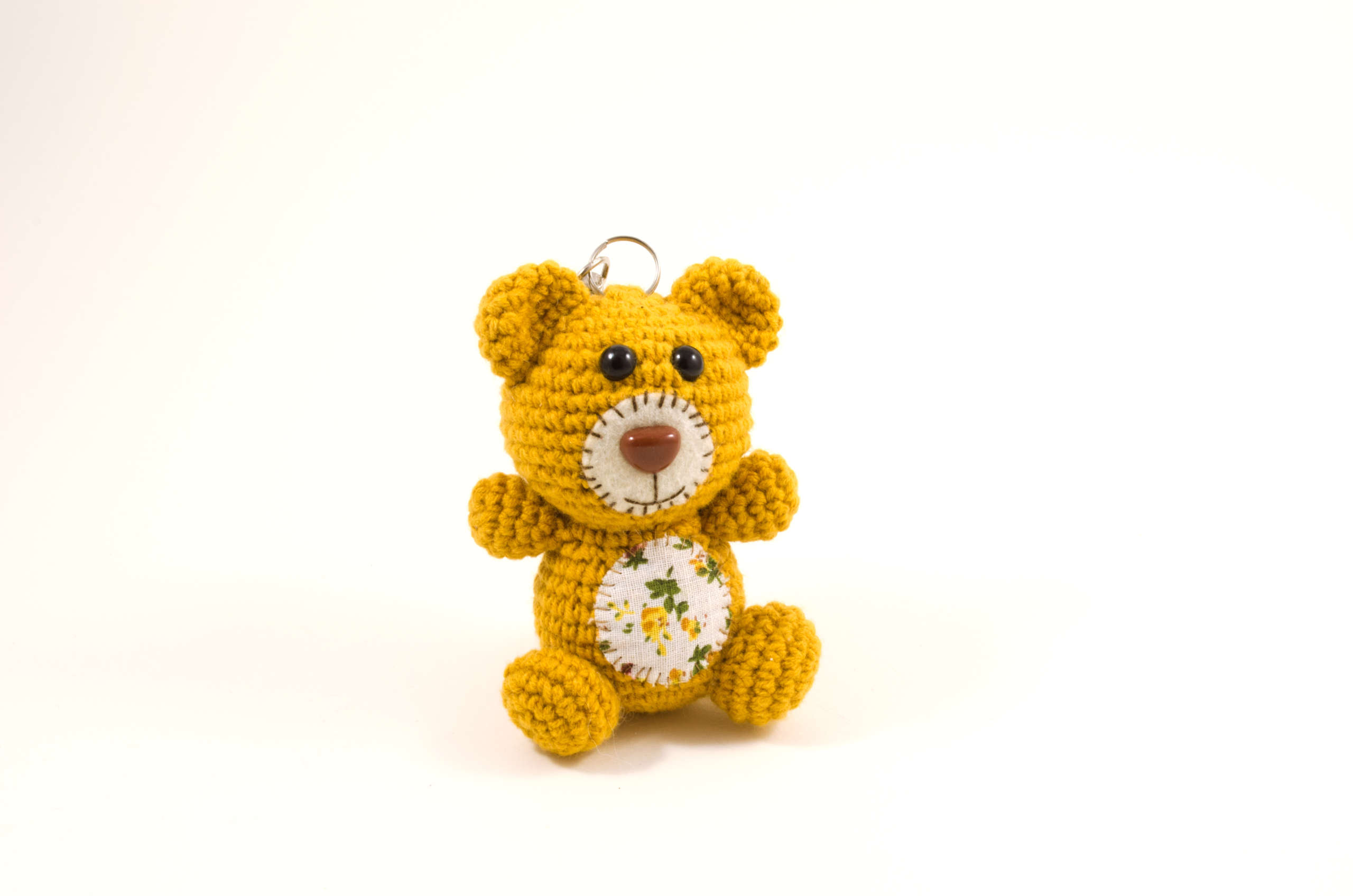 crochet bear bag charm front view