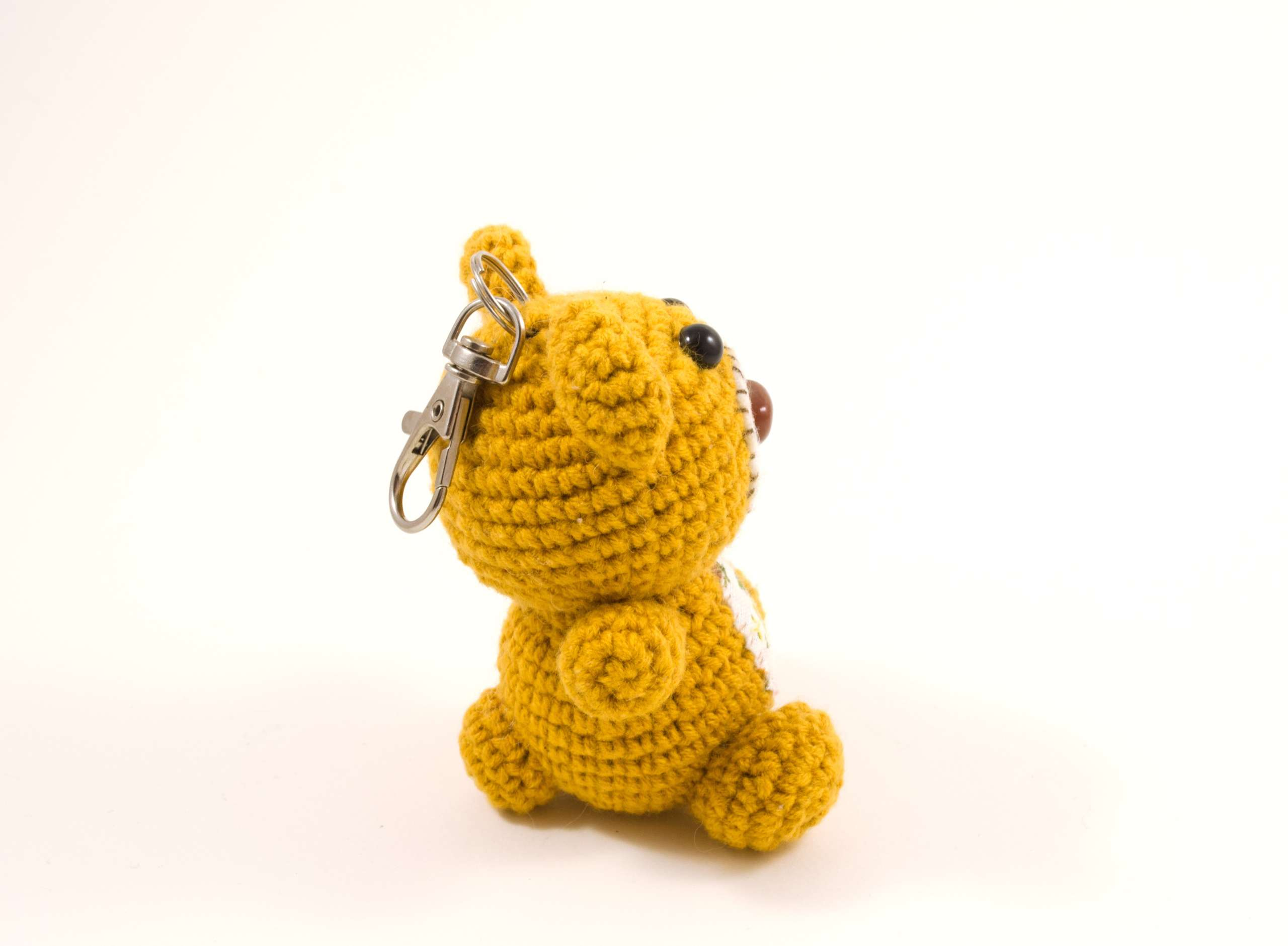 crochet teddy bear keyrin side view
