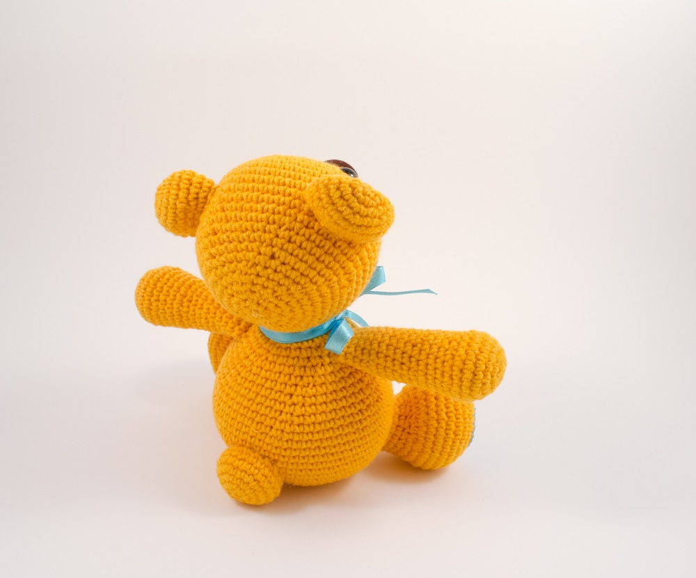 crochet bear toy back view