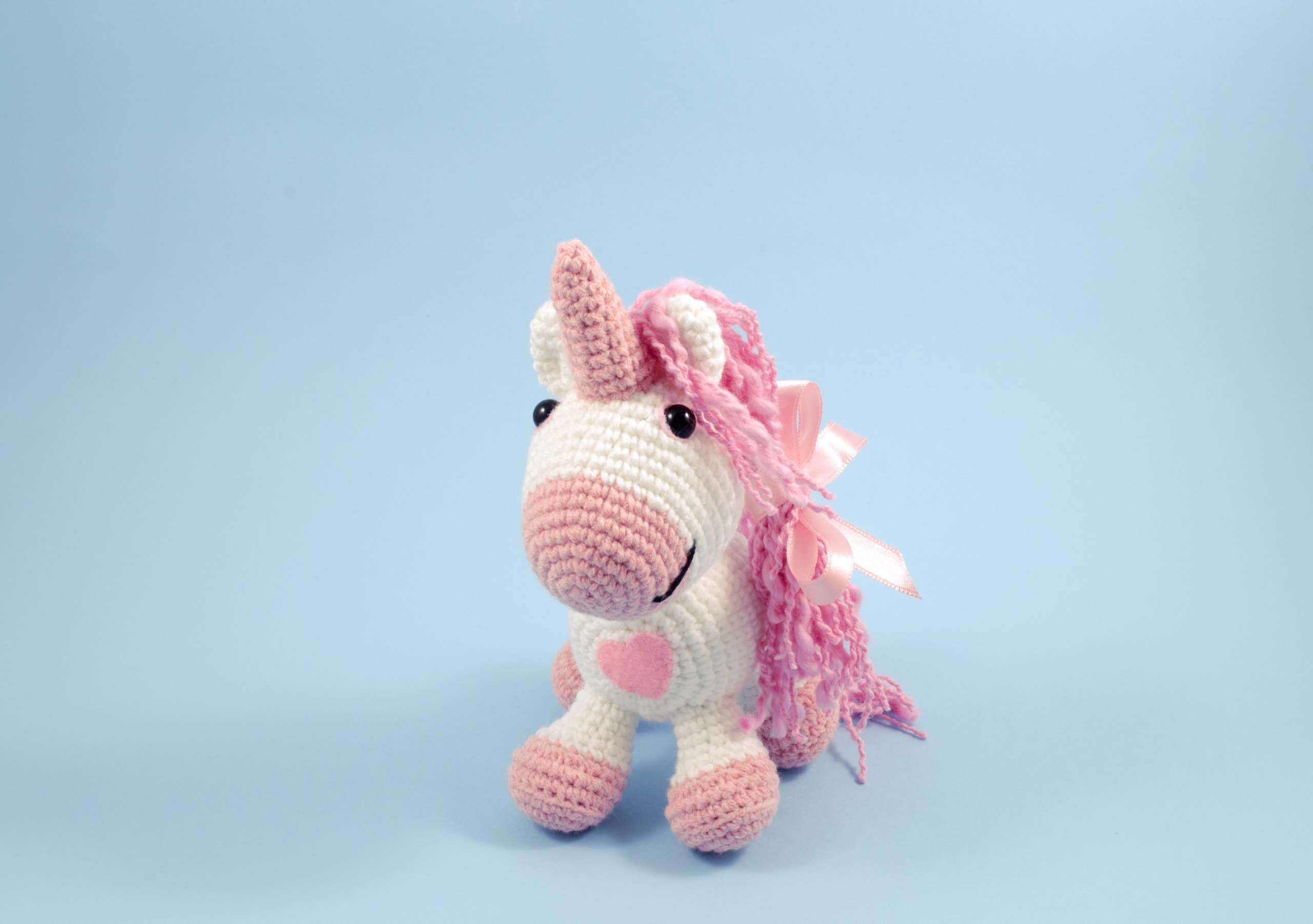 crochet pink unicorn front view