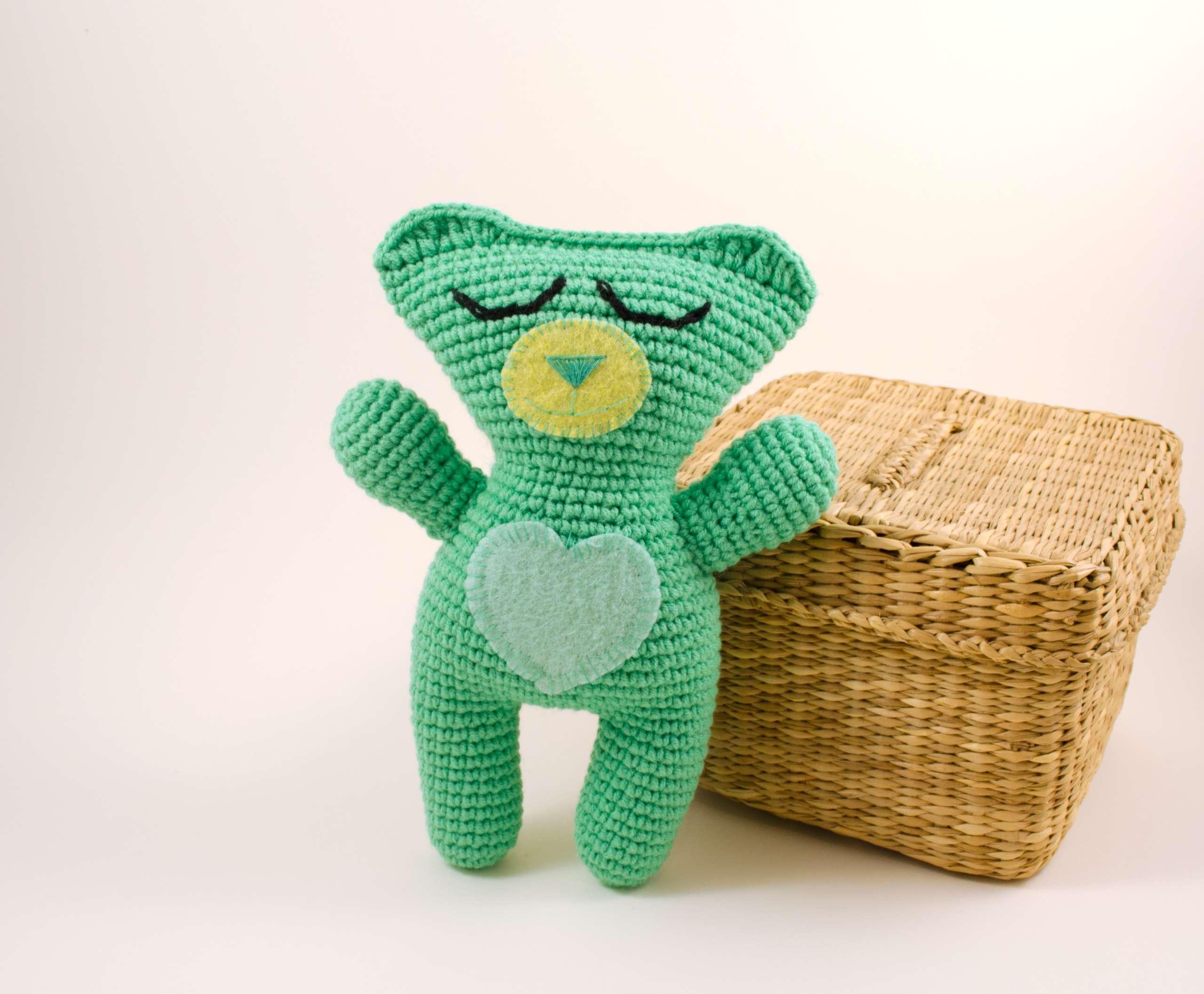 crochet teddy bear front view