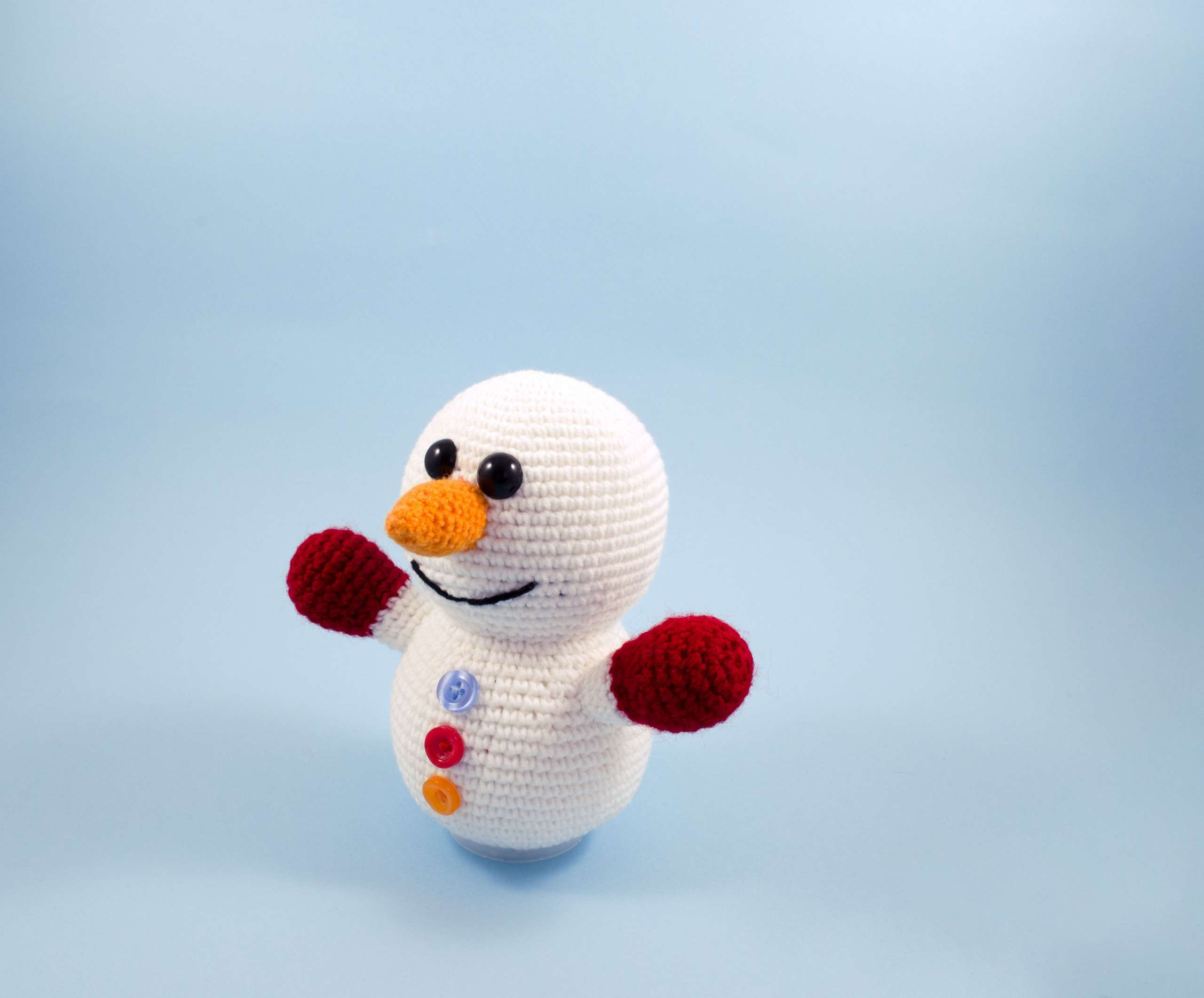 crochet snowman toy side view