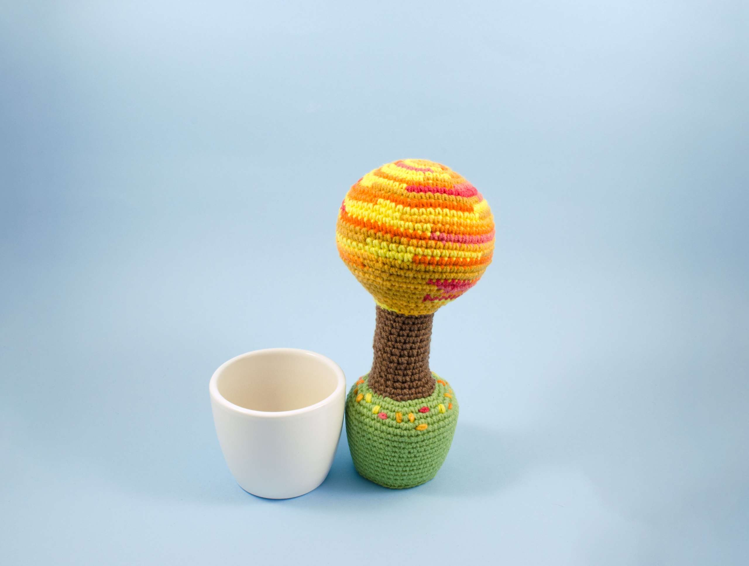 crochet tree in a pot front view