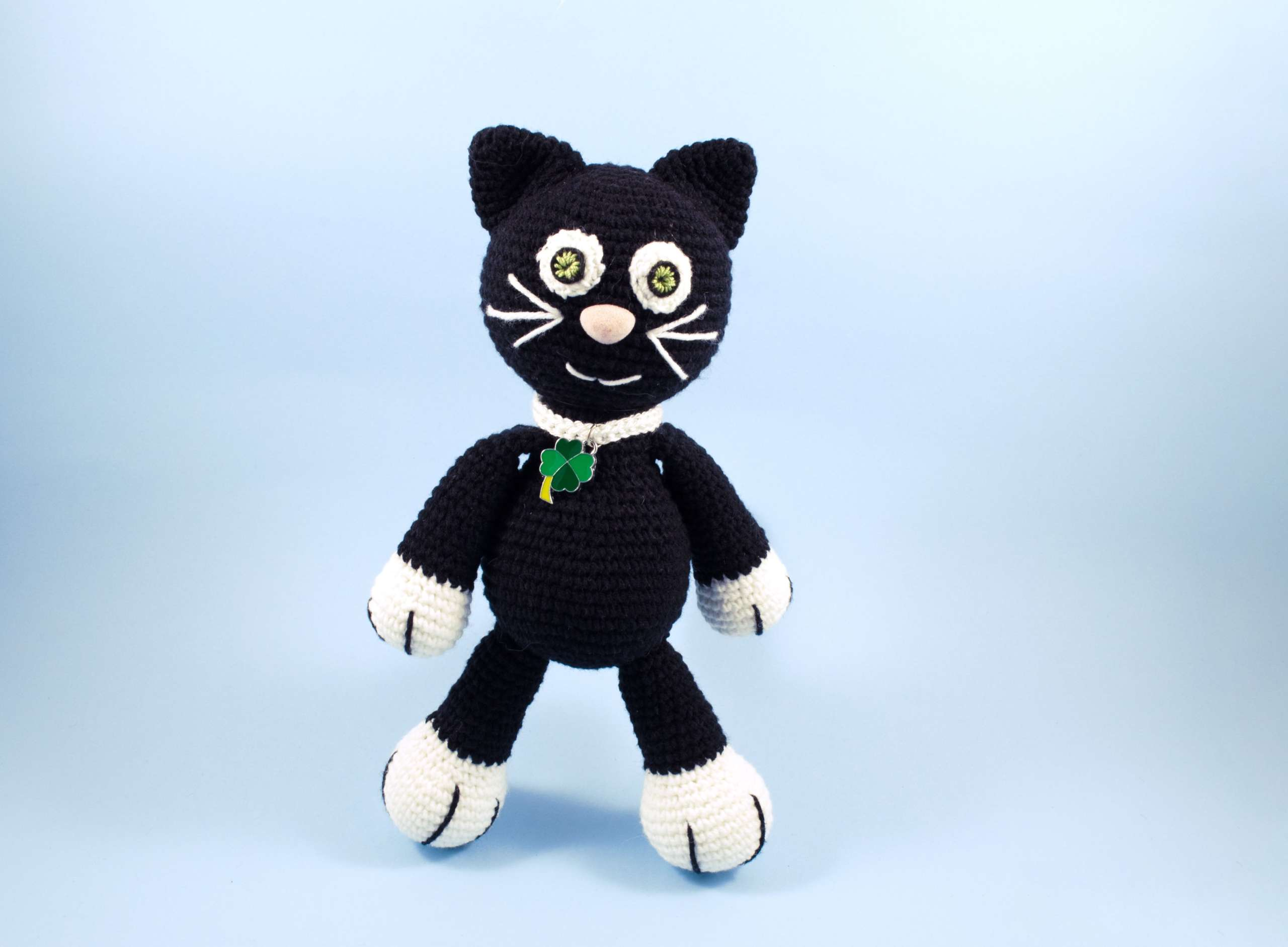 crochet black cat front view