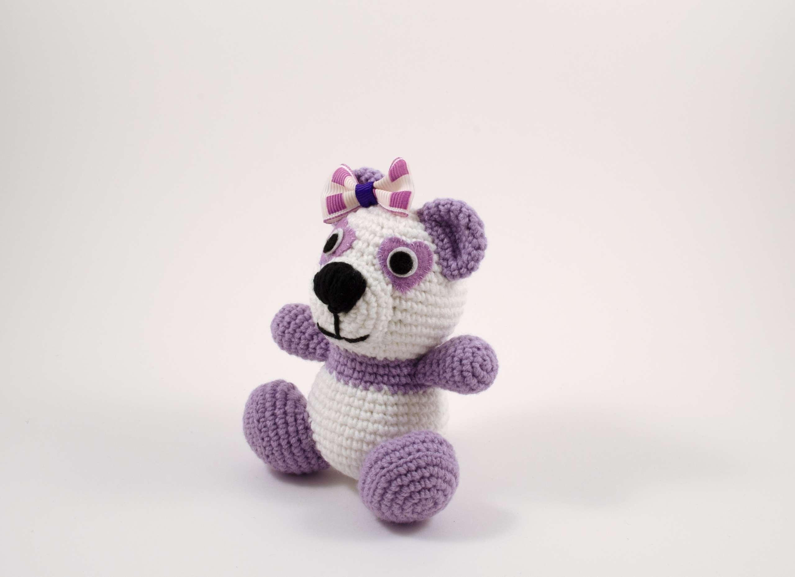 crochet purple panda side view