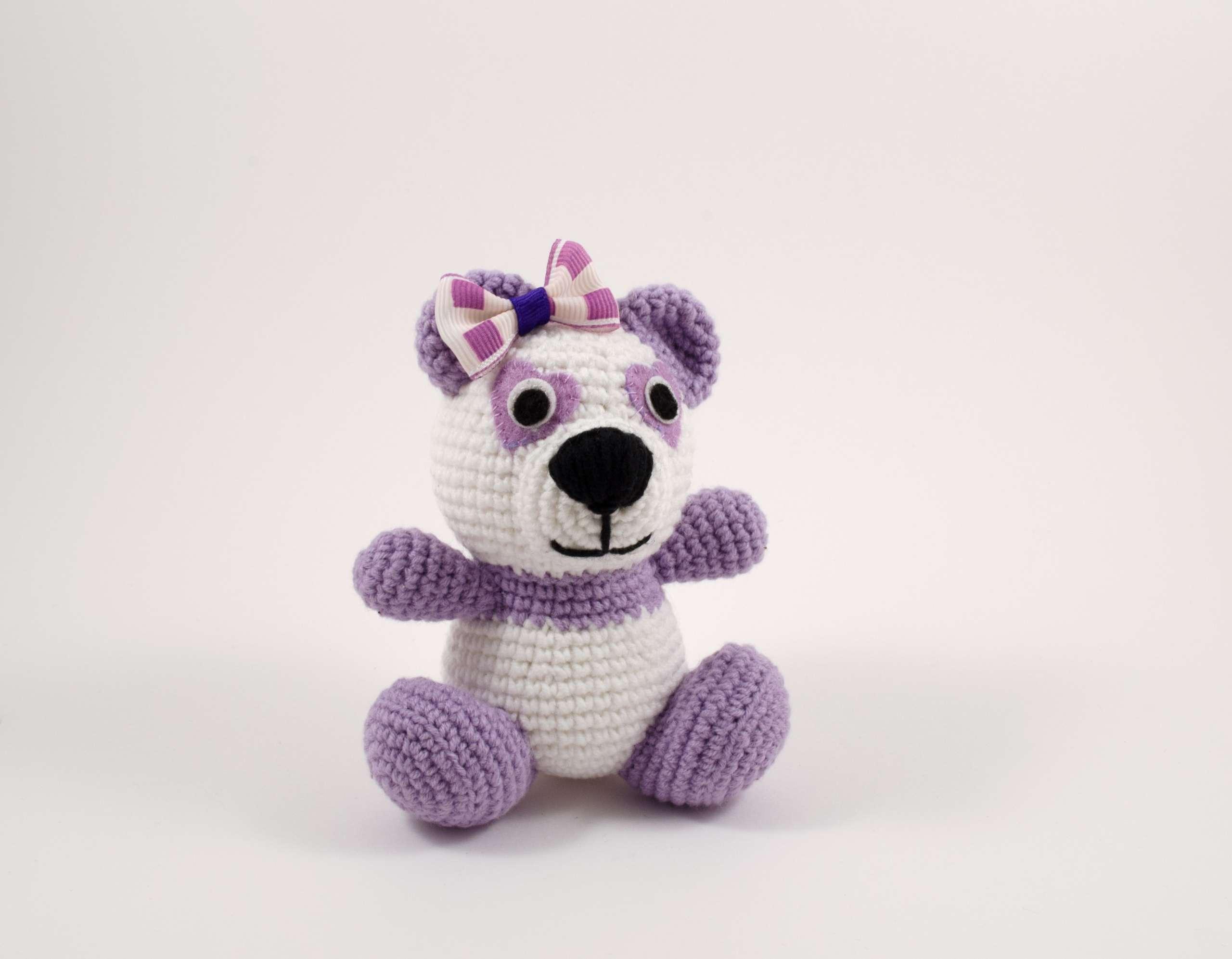 crochet purple panda front view