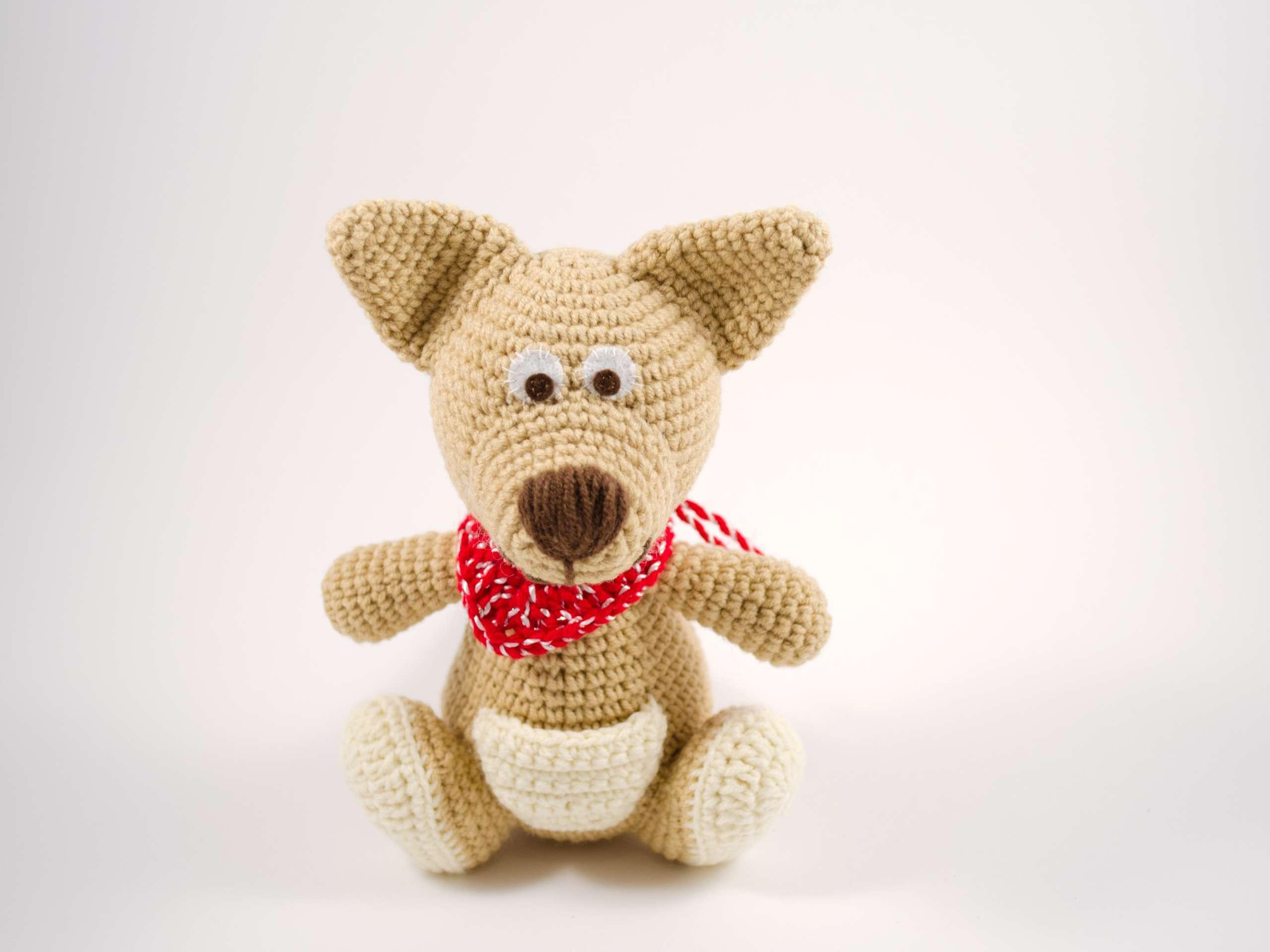 crochet brown kangaroo front view