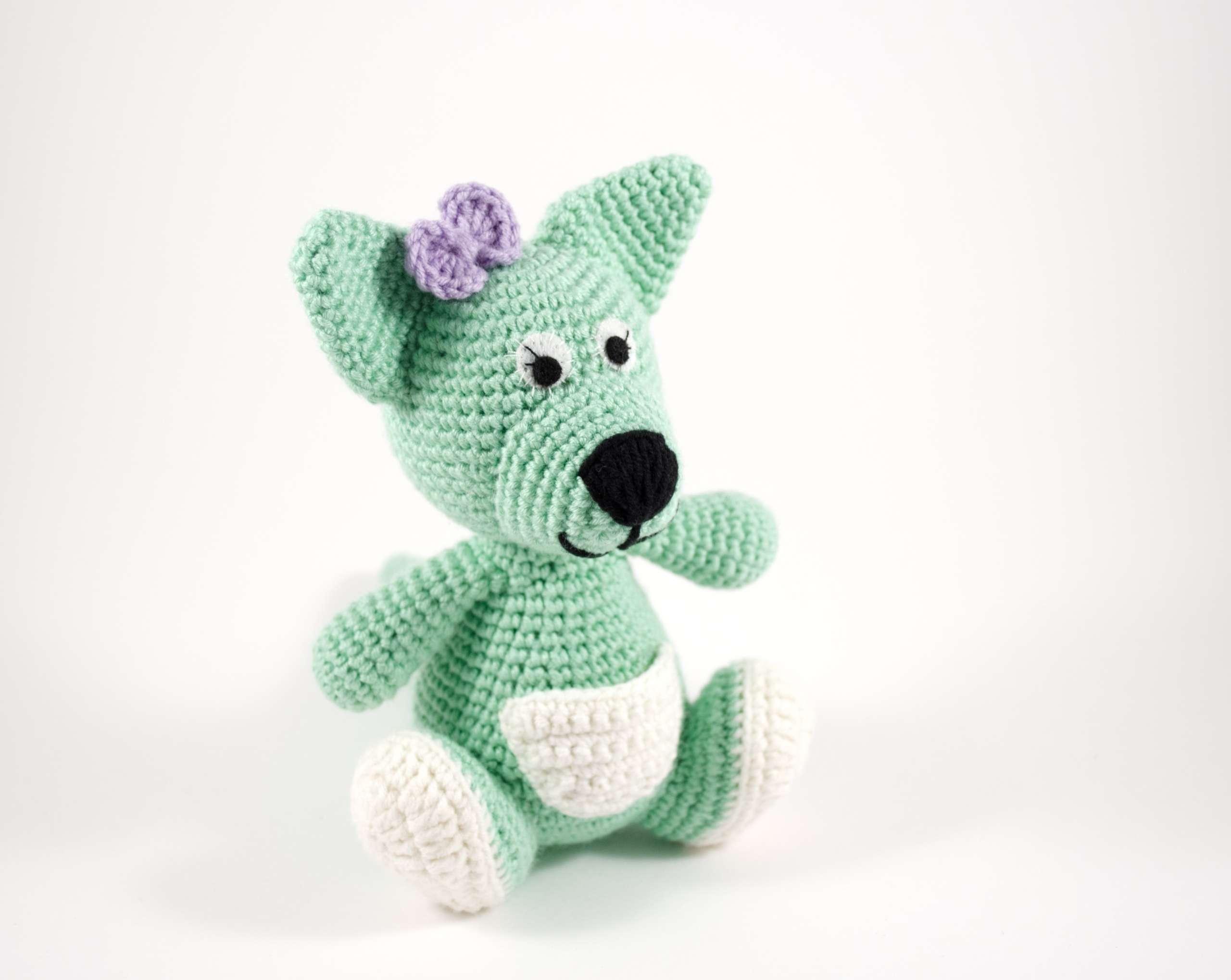 crochet baby kangaroo front view