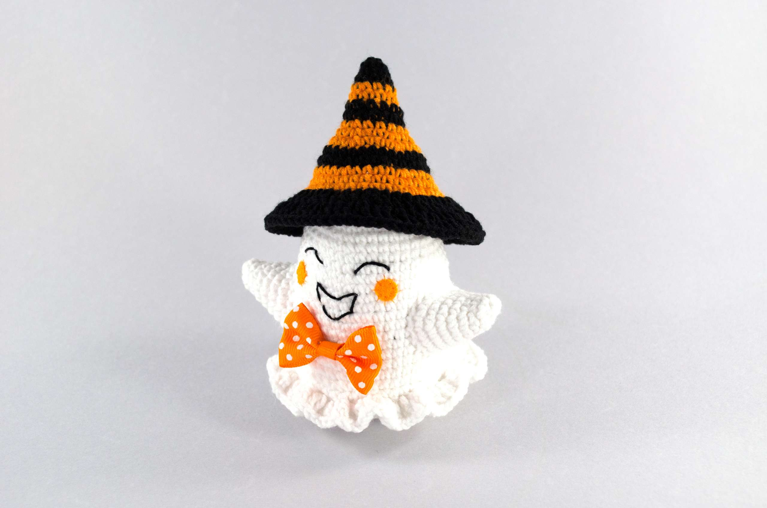 crochet orange ghost front view