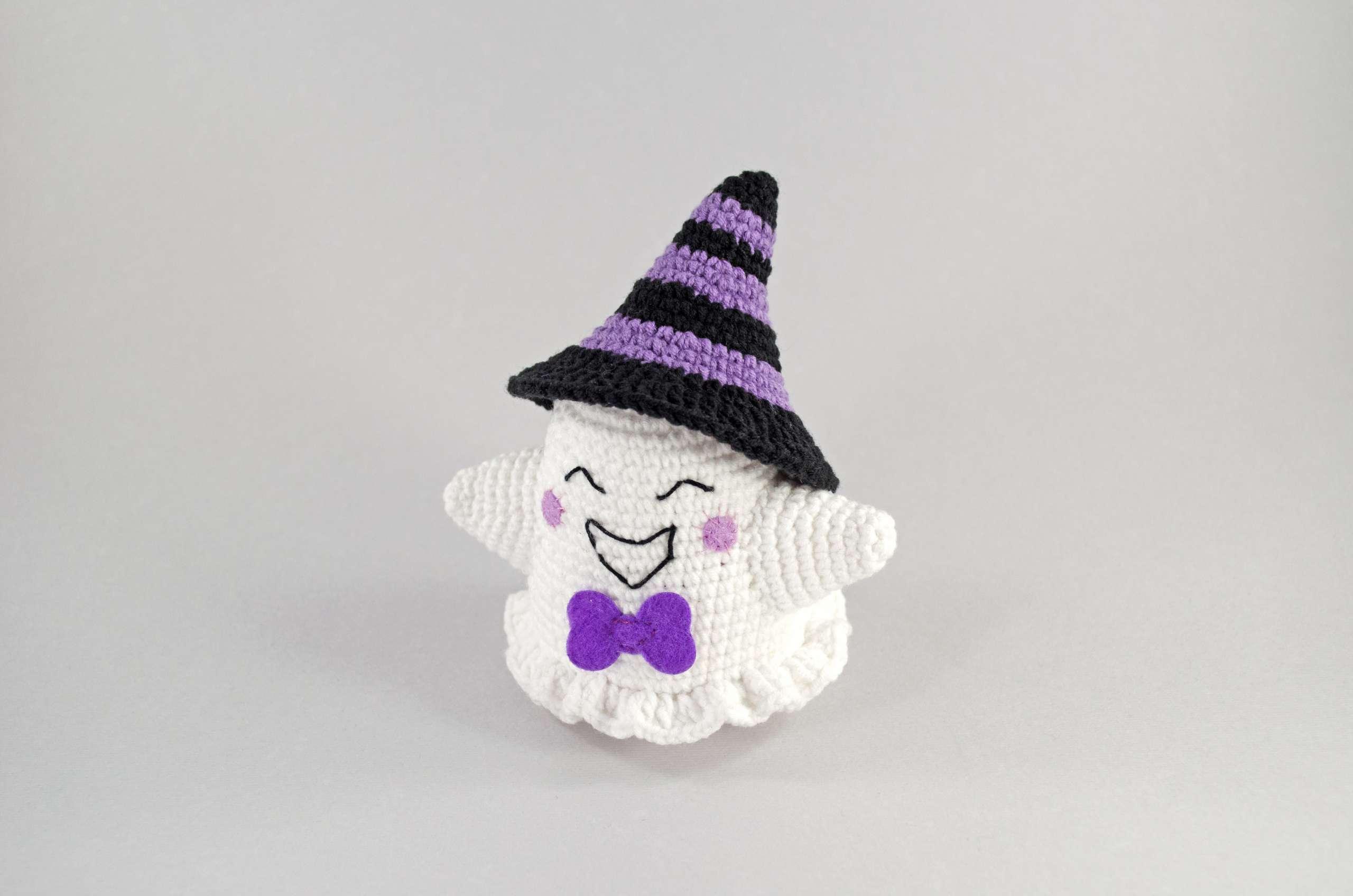crochet purple ghost front view