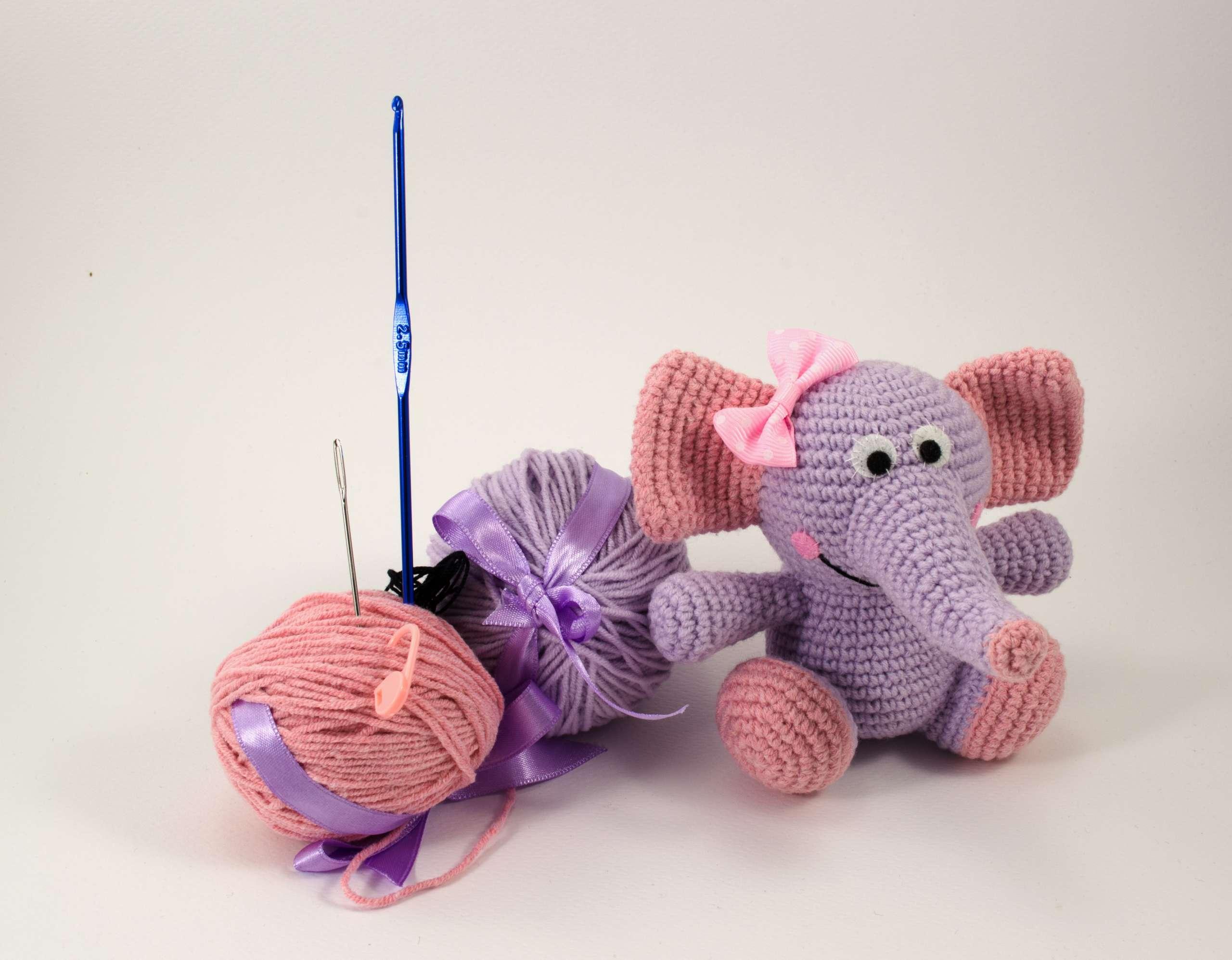 crochet purple elephant diy kit