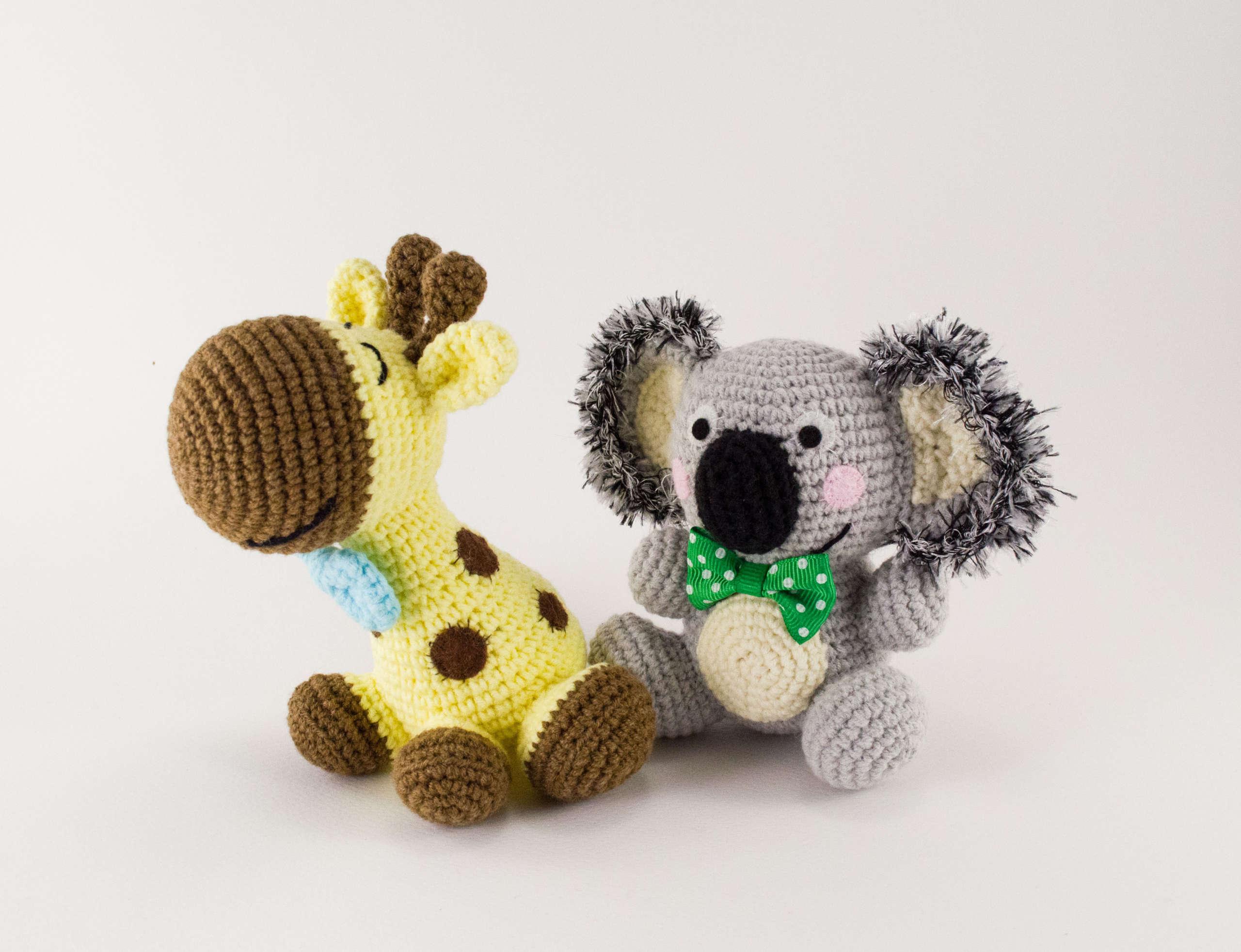 crochet ben the koala and happy the giraffe