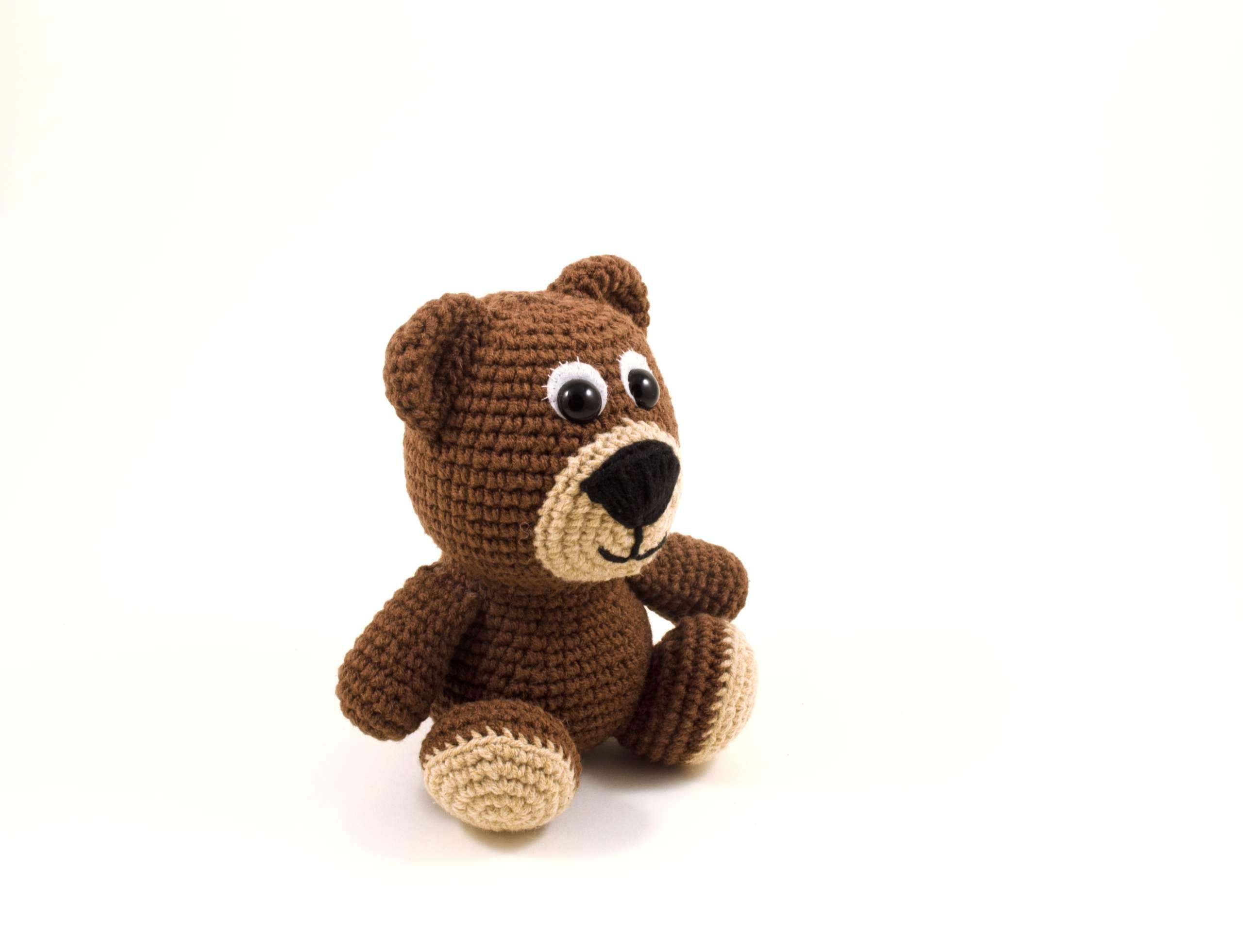crochet teddy bear side view