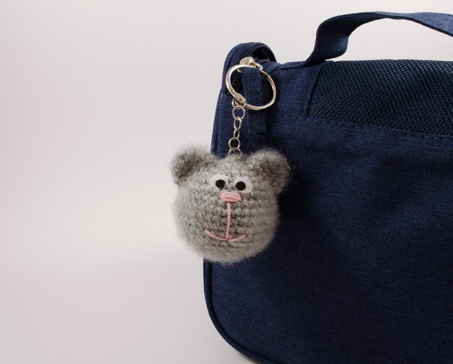 crochet kitty bag charm