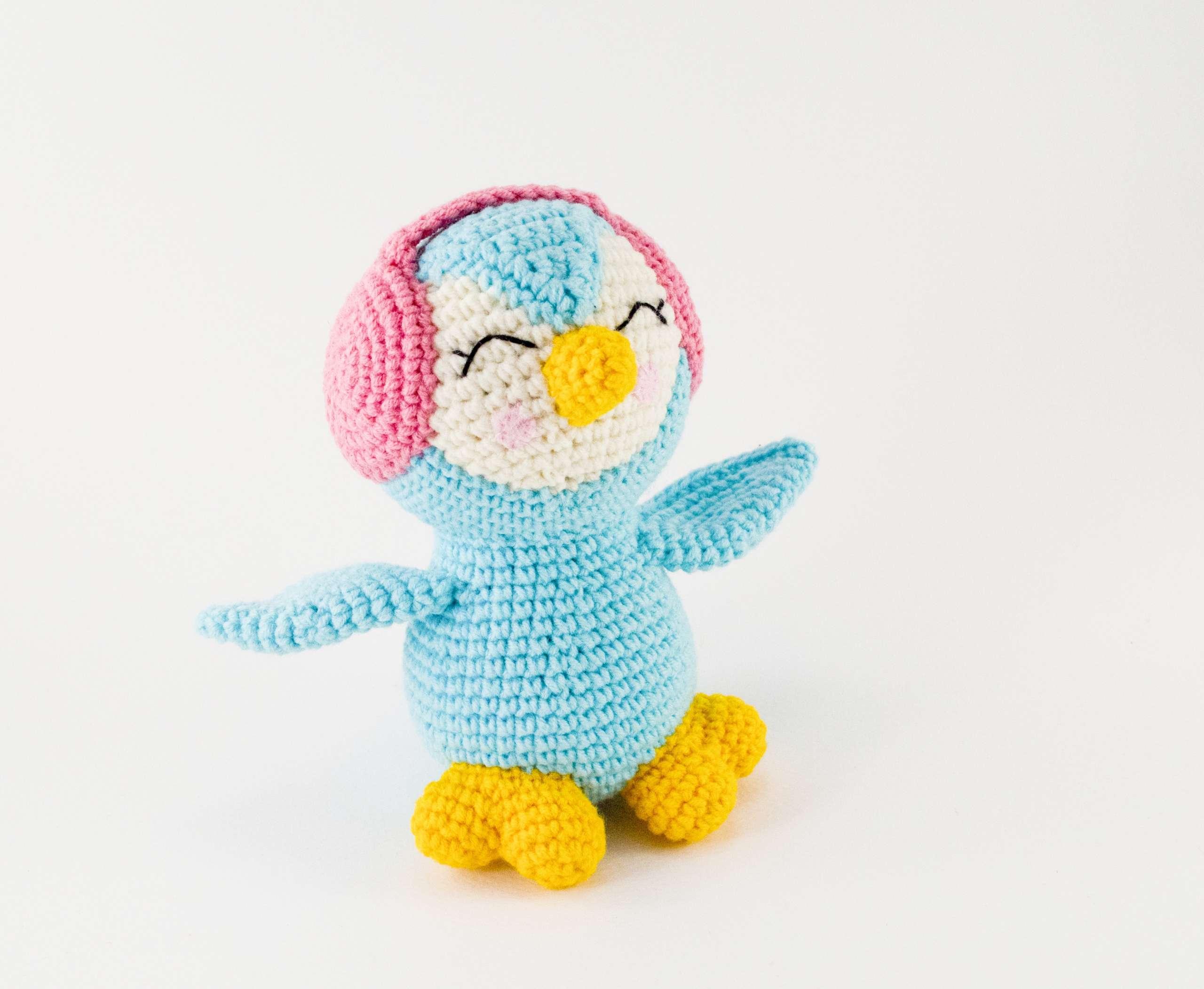 crochet blue penguin