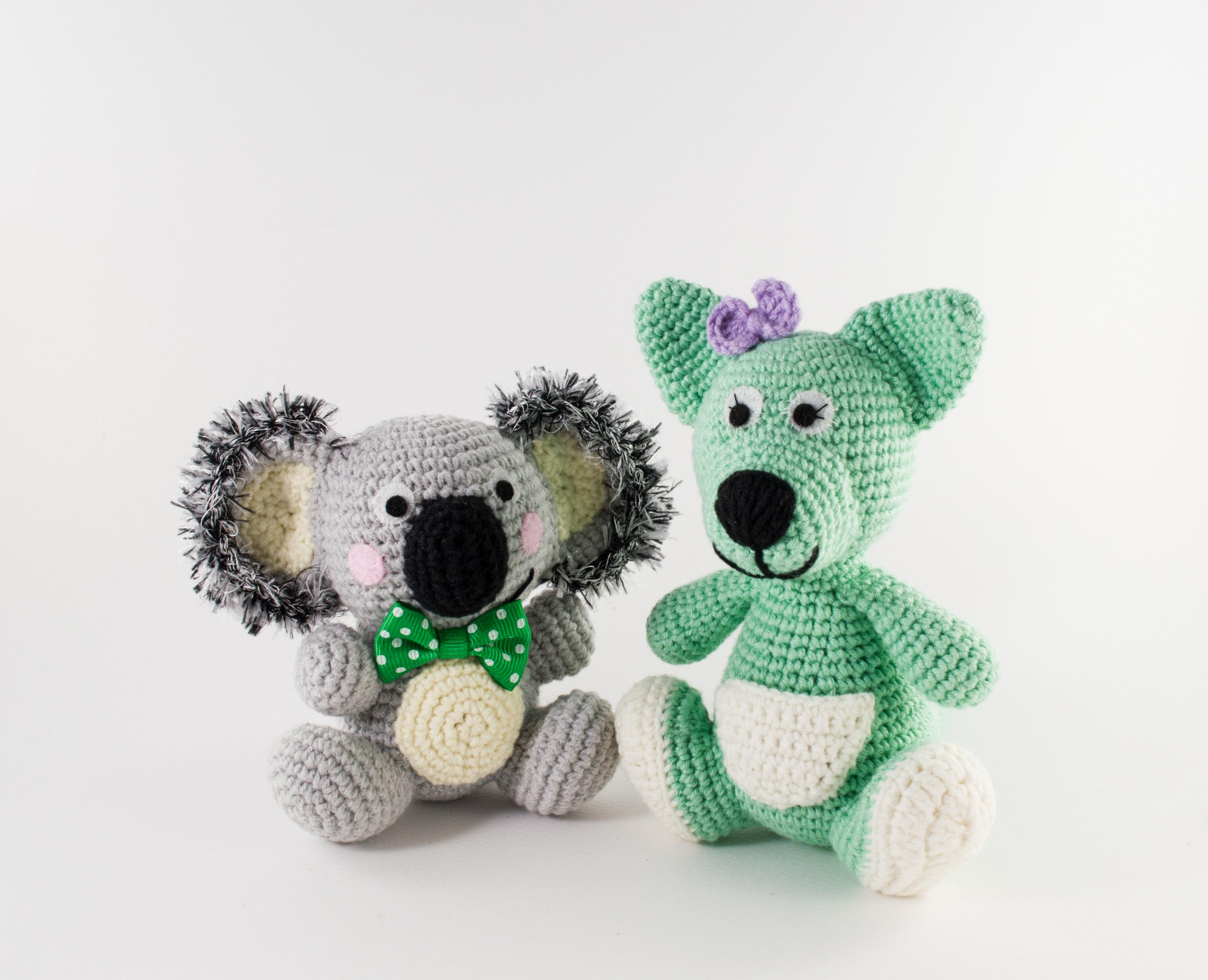 crochet pattern pack koala and kangaroo