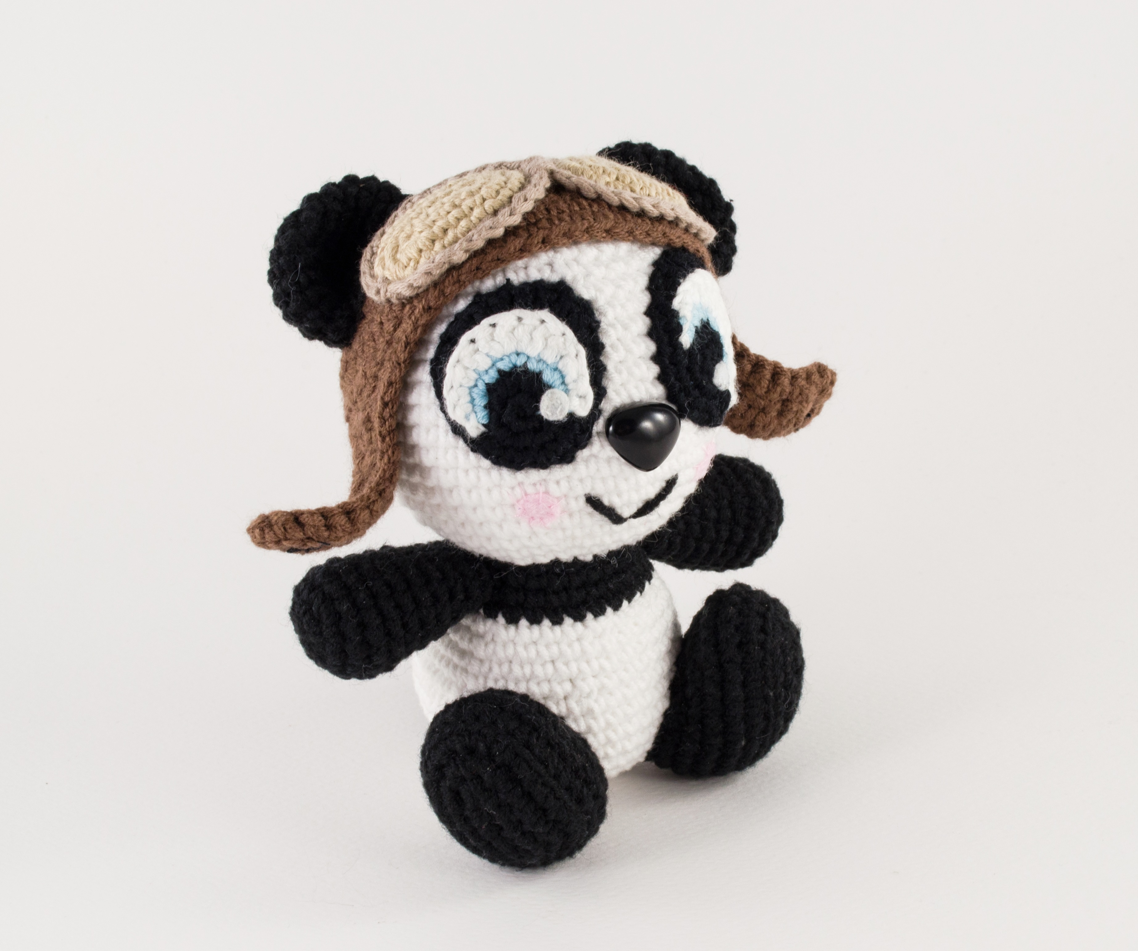 crochet panda side view