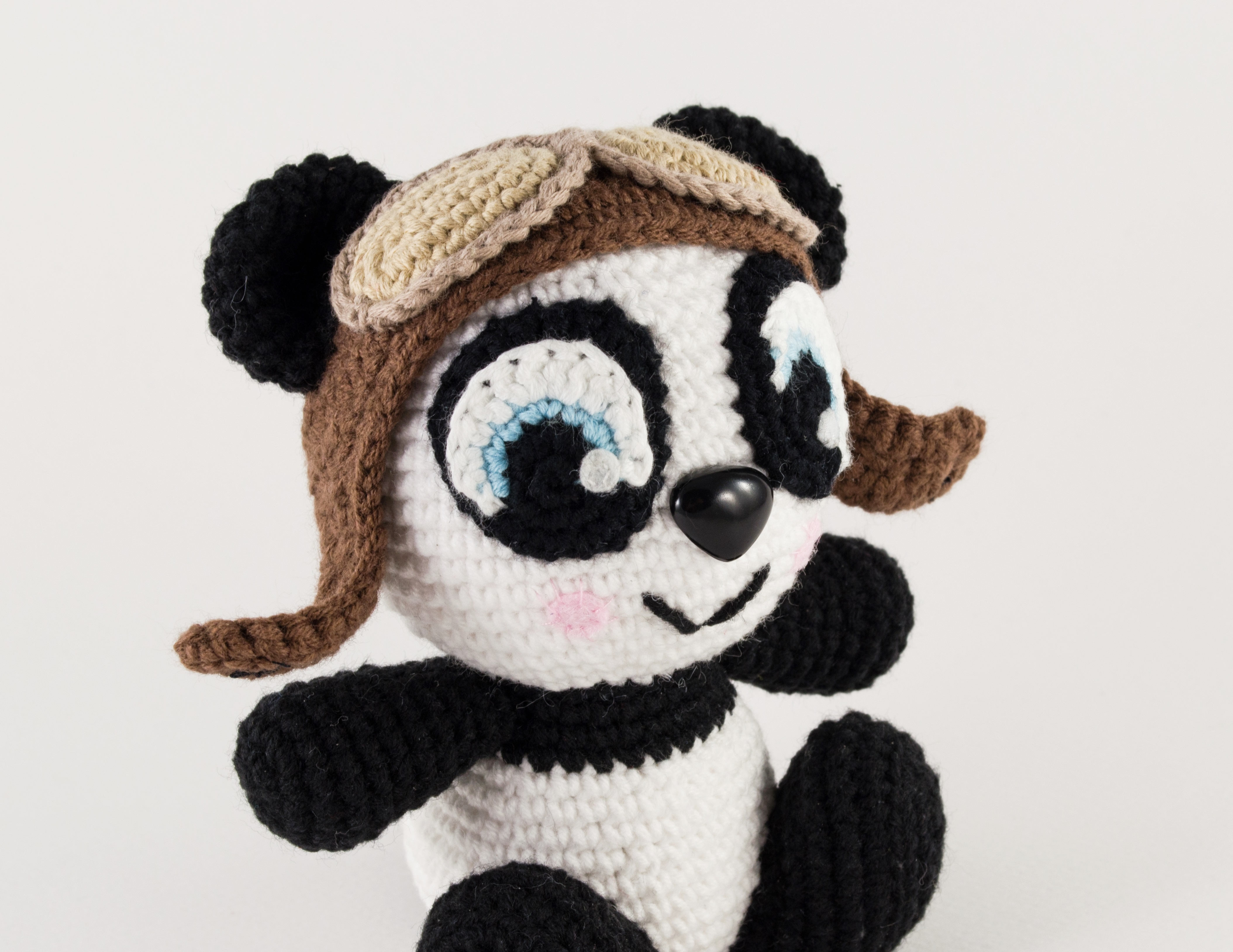 crochet panda close up view
